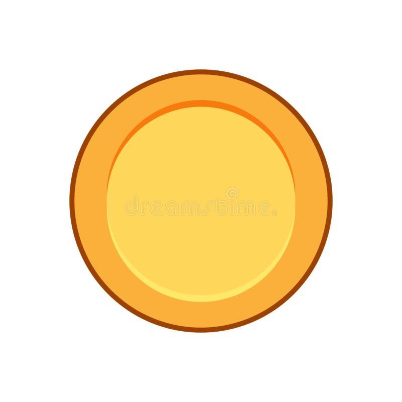 Moneda de oro plana llana stock de ilustración