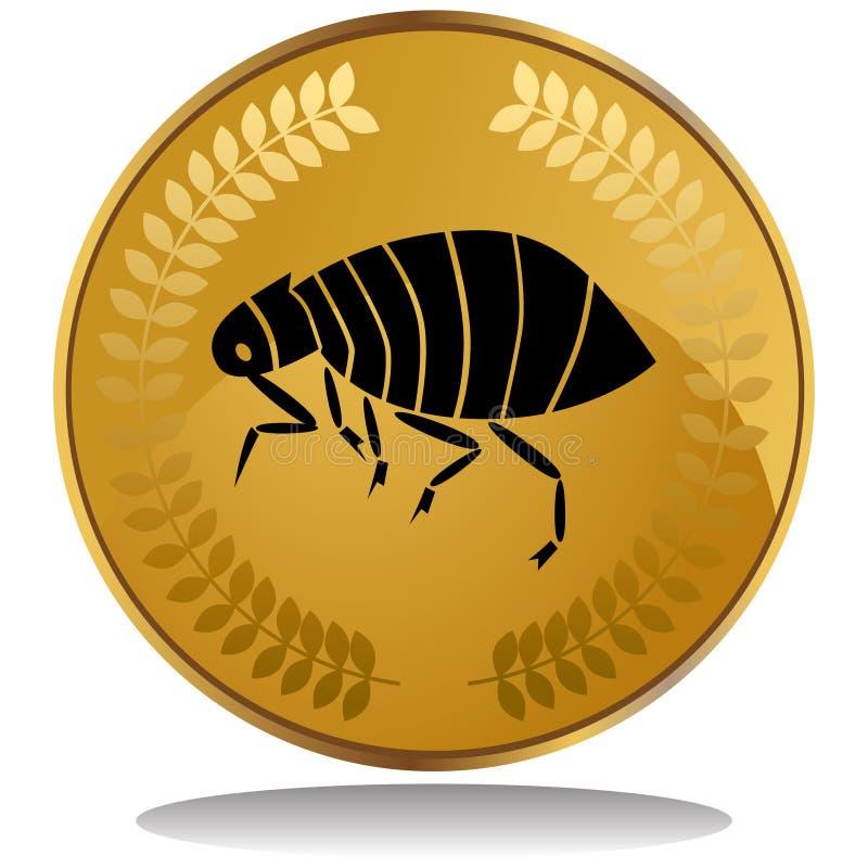 Moneda de oro - pulga ilustración del vector