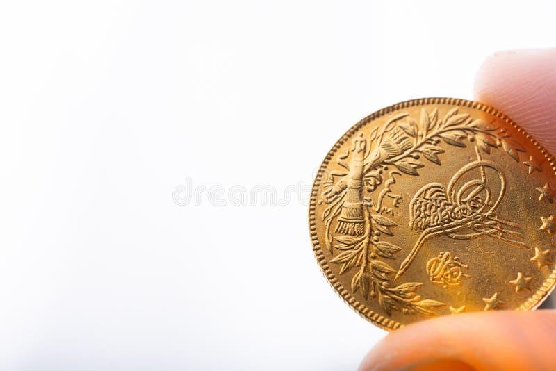 Moneda de oro turca del estilo de Ottoman a disposición fotografía de archivo