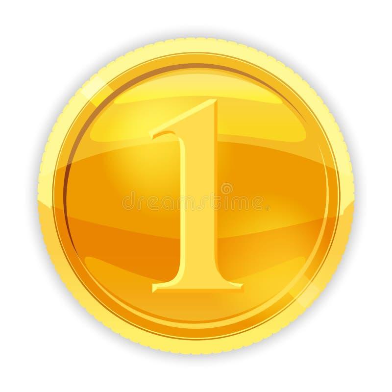 Moneda de oro, valor 1, vector, ejemplo, estilo de la historieta, aislado stock de ilustración