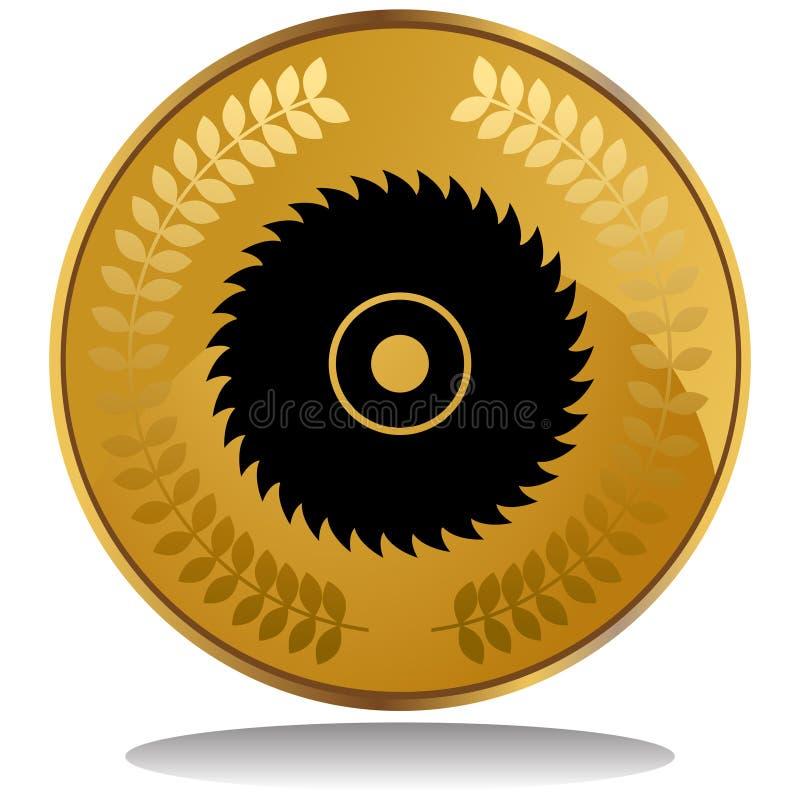 Moneda de oro - vio la lámina ilustración del vector