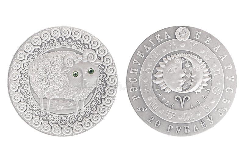 Moneda de plata de Aries Belarus imagen de archivo