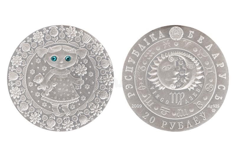 Moneda de plata de Bielorrusia del virgo foto de archivo