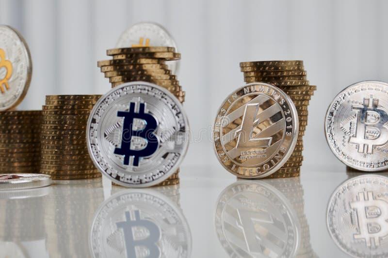 Moneda de plata de Litecoin imágenes de archivo libres de regalías