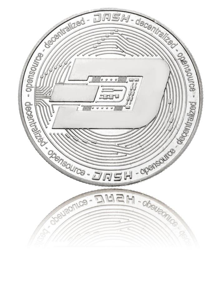 Moneda de plata del ryptocurrency - rociada, aislada en un blanco imagen de archivo