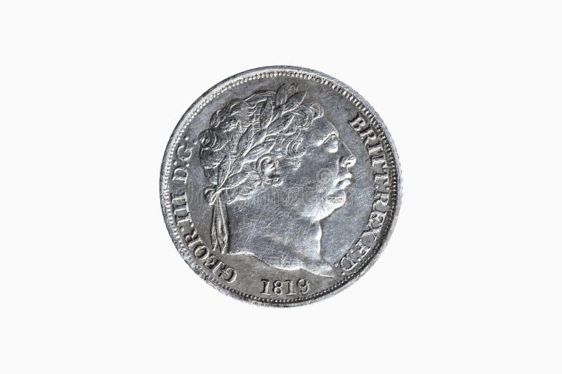 Moneda de plata del sixpence de George III fotos de archivo