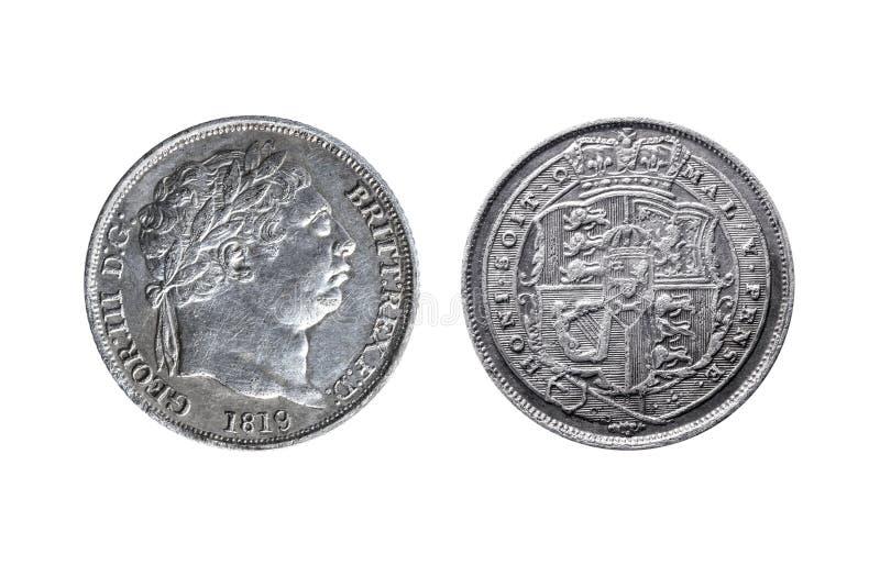 Moneda de plata del sixpence de George III fotografía de archivo