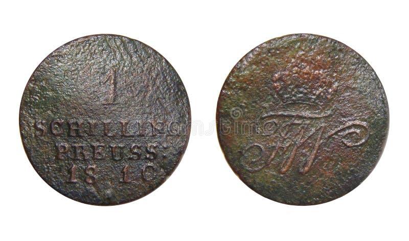Moneda de Prusia de Alemania 1 chelín 1810 foto de archivo libre de regalías