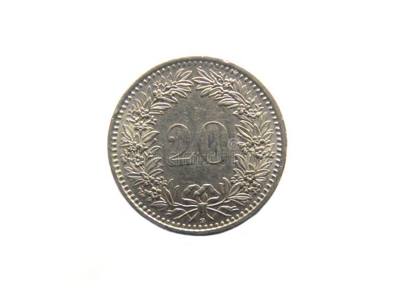 Moneda de 20 Rappen imagen de archivo