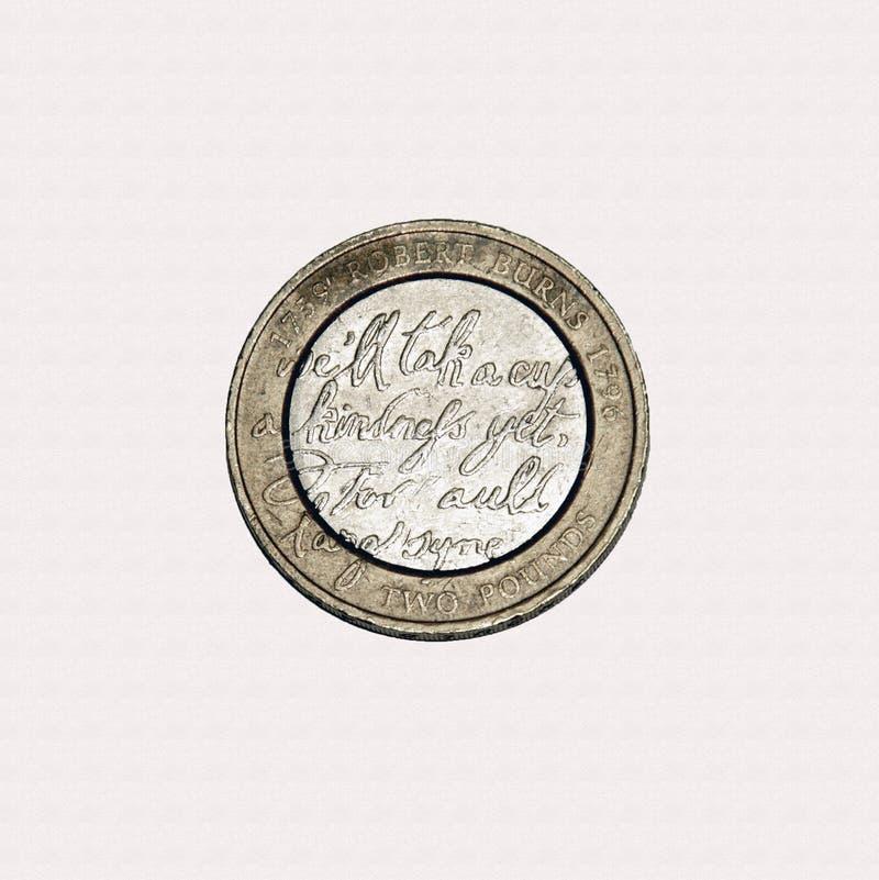 Moneda de Robert Burns £2 imágenes de archivo libres de regalías