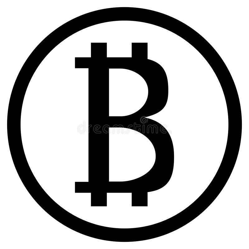 Moneda del blanco del negro del icono de Bitcoin stock de ilustración