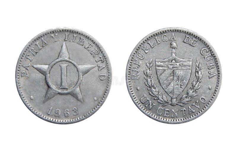 1 moneda del centavo de Cuba fotografía de archivo