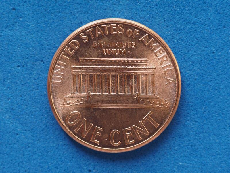 1 moneda del centavo, Estados Unidos fotografía de archivo libre de regalías