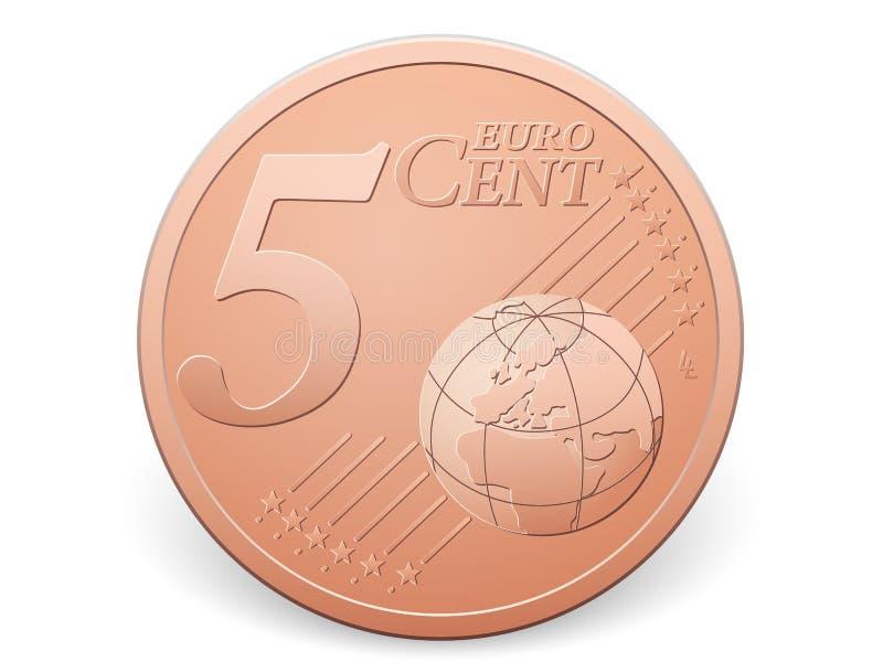Moneda del centavo del euro cinco stock de ilustración