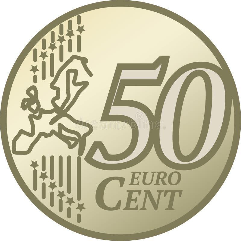 Moneda del centavo del euro cincuenta stock de ilustración