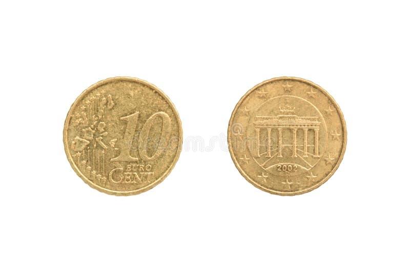 Moneda del centavo del euro diez imagen de archivo libre de regalías