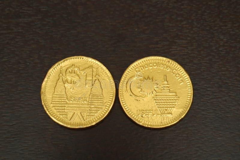 Moneda del chocolate imágenes de archivo libres de regalías