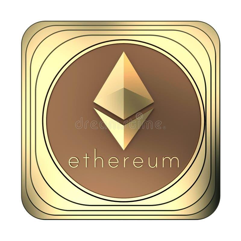 Moneda del ethereum del icono del oro aislada en blanco ilustración del vector