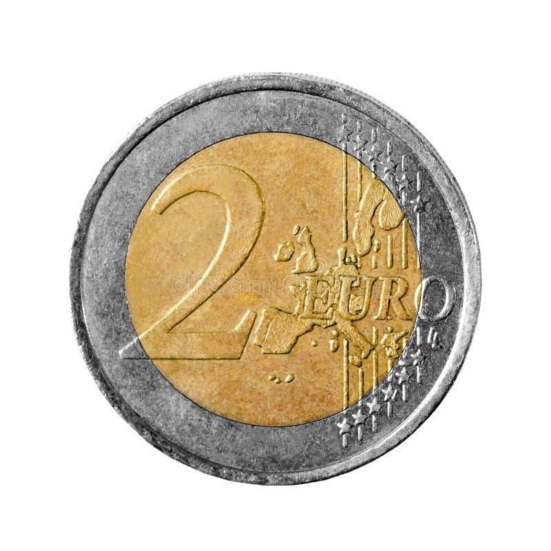 Moneda del euro dos aislada en el fondo blanco foto de archivo