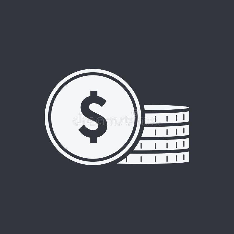 Moneda del icono del vector Muestra del dinero, efectivo del banco, iconos sólidos de las monedas Pila del dinero de la moneda, d ilustración del vector