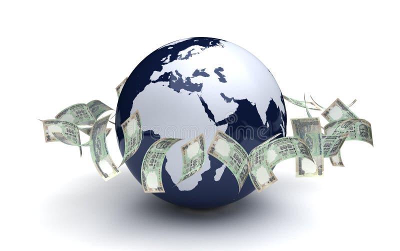 Moneda del indio del negocio global stock de ilustración
