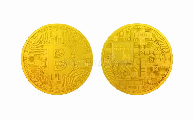 Moneda del metal Bitcoins y de Ethereum foto de archivo