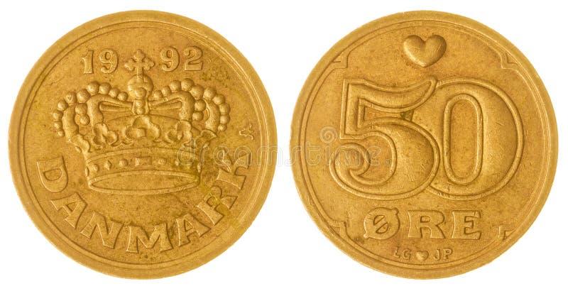 50 moneda del mineral 1992 aislada en el fondo blanco, Dinamarca foto de archivo libre de regalías