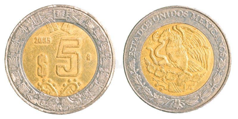 Moneda del Peso mexicano cinco foto de archivo libre de regalías