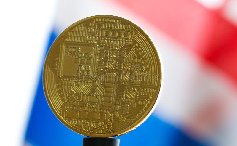 Moneda digital de Bitcoin o dinero virtual Bitcoin es moneda de Digitaces moderna del dinero virtual del pago del intercambio, or fotos de archivo libres de regalías
