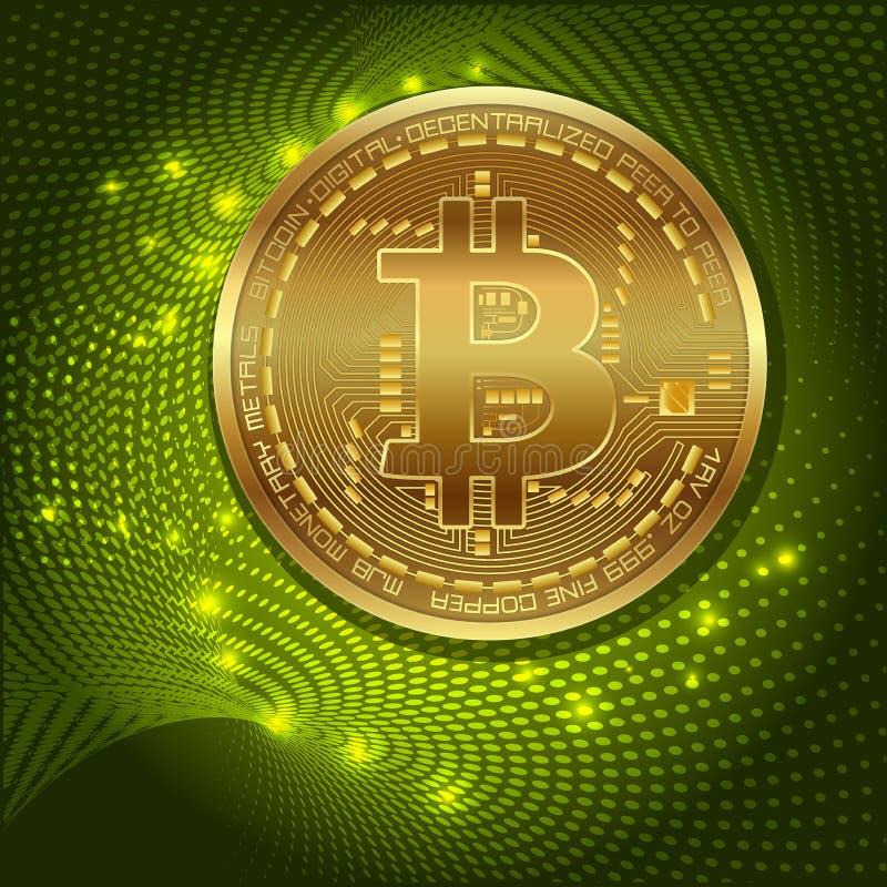 Moneda digital del bitcoin de oro, dinero digital futurista, concepto mundial de la red de la tecnología, ejemplo del vector stock de ilustración