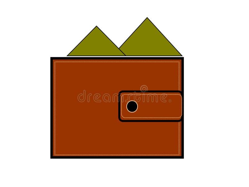 Moneda, efectivo, portmone, banco, dinero, monedero, verde, negocio, marrón, bolsillo stock de ilustración