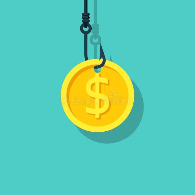 Moneda en el gancho Cebo del dólar Gancho de leva de pesca stock de ilustración