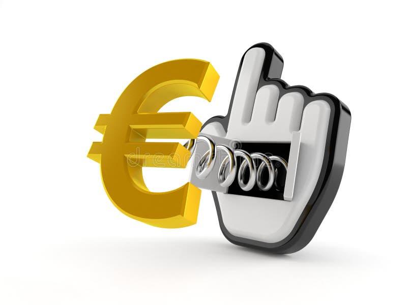 Moneda euro con el cursor de la web ilustración del vector