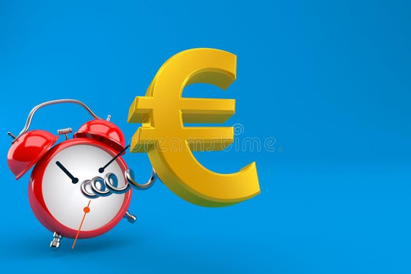 Moneda euro con el despertador ilustración del vector