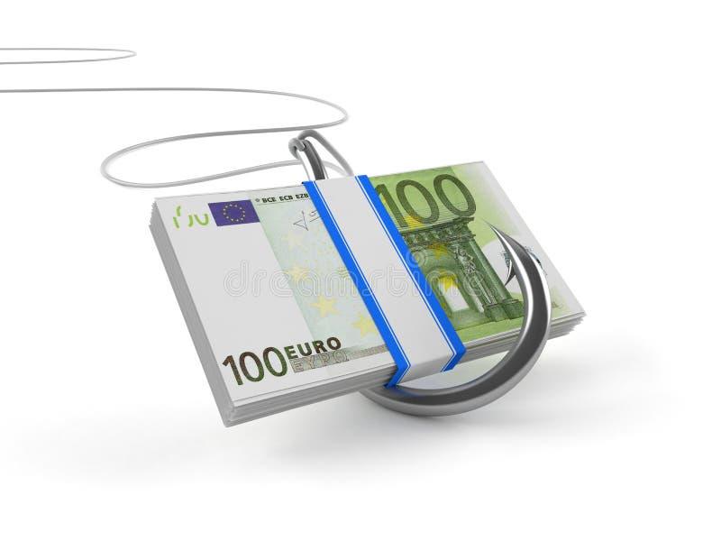 Moneda euro con el gancho de pescados stock de ilustración