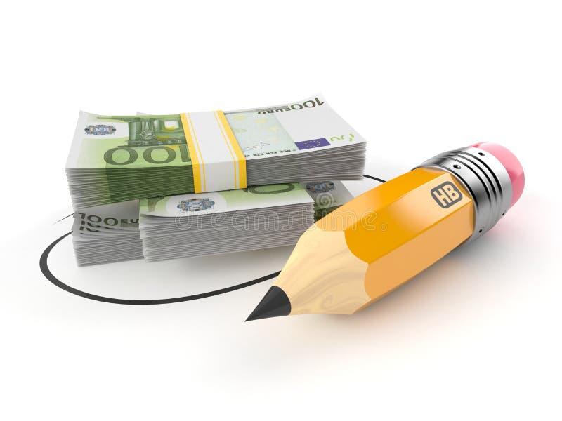 Moneda euro con el lápiz ilustración del vector