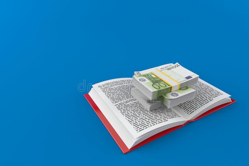 Moneda euro en el libro abierto ilustración del vector