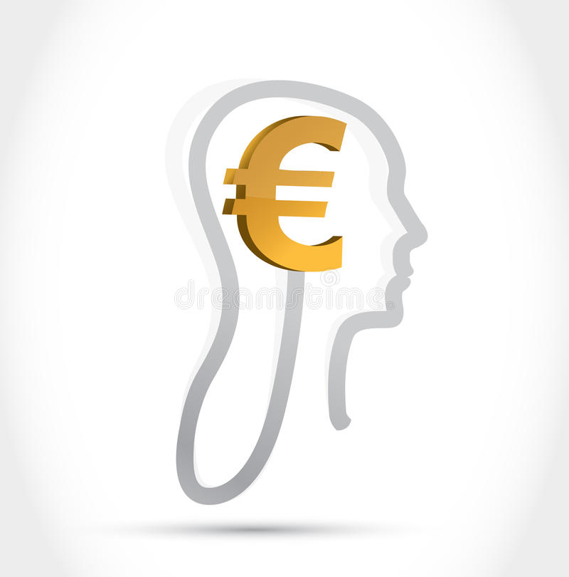 Moneda euro en mi diseño del ejemplo de la mente libre illustration