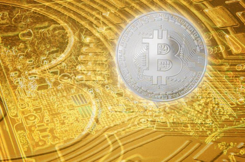 Moneda financiera digital del crecimiento de Bitcoin fondo de la tecnolog?a de la econom?a del concepto fotografía de archivo