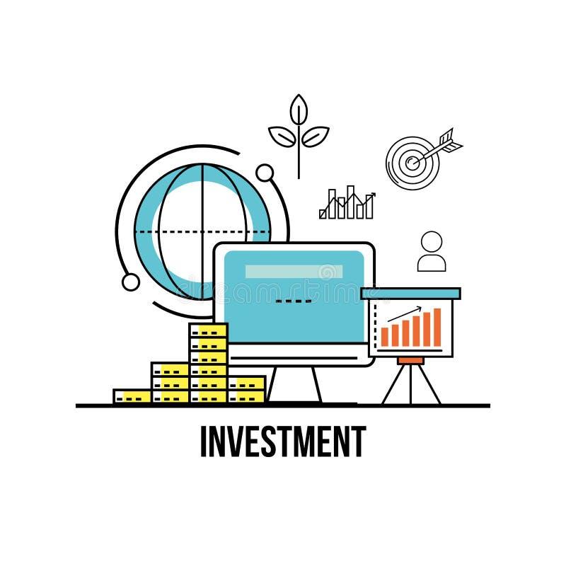 Moneda financiera a la estrategia de la corporación ilustración del vector