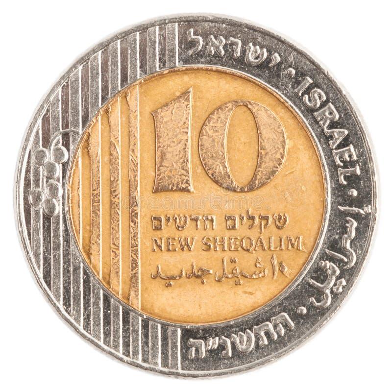 Moneda israelí de 10 nueva Sheqel fotografía de archivo libre de regalías