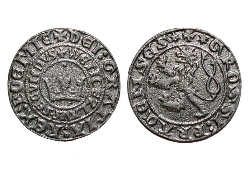 Moneda medieval de los años de Praga groschen-700 de la moneda fotos de archivo libres de regalías