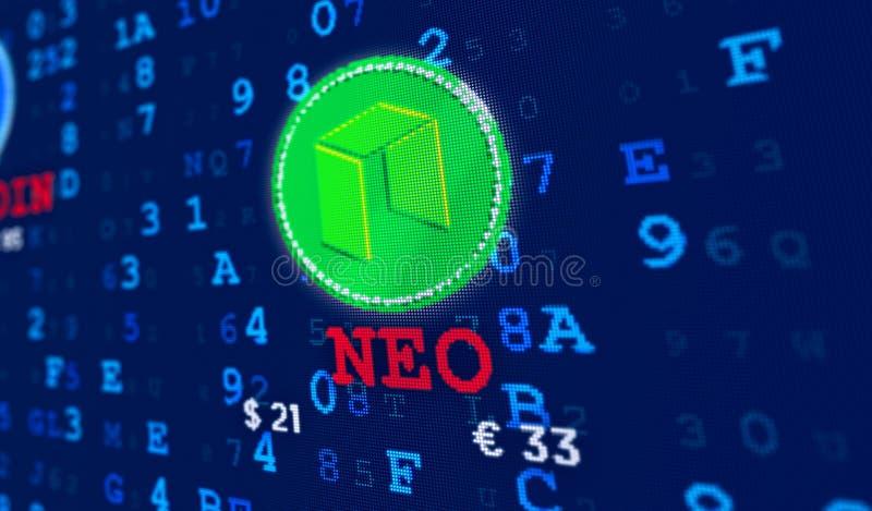 Moneda nea y nombre de la moneda stock de ilustración
