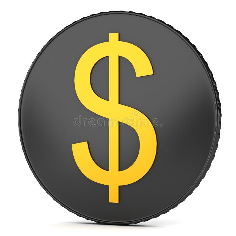 Moneda negra con la muestra de dólar ilustración del vector