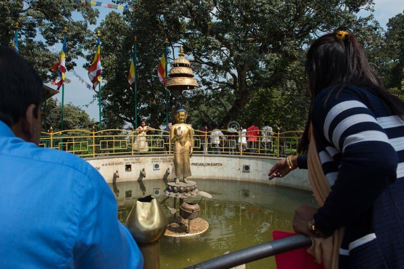 Moneda nepalesa del tiro a la imagen de Buda en centro de la charca santa a los wi imagen de archivo libre de regalías