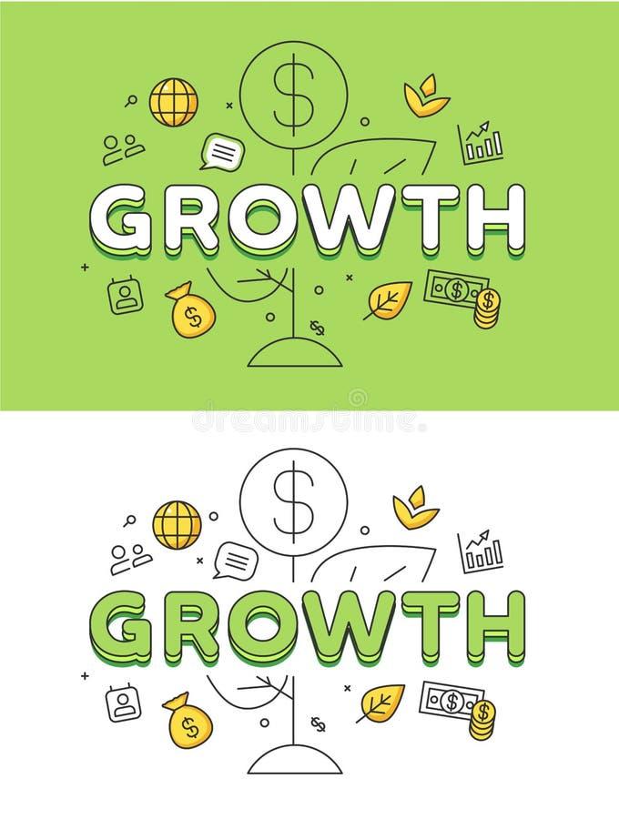 Moneda plana linear de la planta del CRECIMIENTO de la estrategia empresarial ilustración del vector