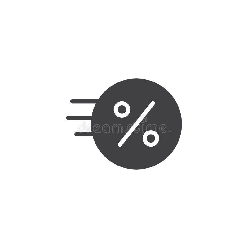 Moneda rápida con el icono del vector de la muestra del por ciento stock de ilustración