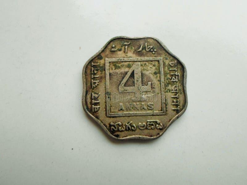 Moneda rara de cuatro Ana de la India 1920 foto de archivo libre de regalías