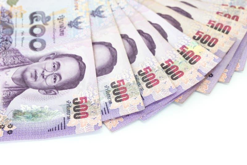 Moneda tailandesa del dinero quinientos billetes de banco del baht aislados en pizca imagen de archivo libre de regalías