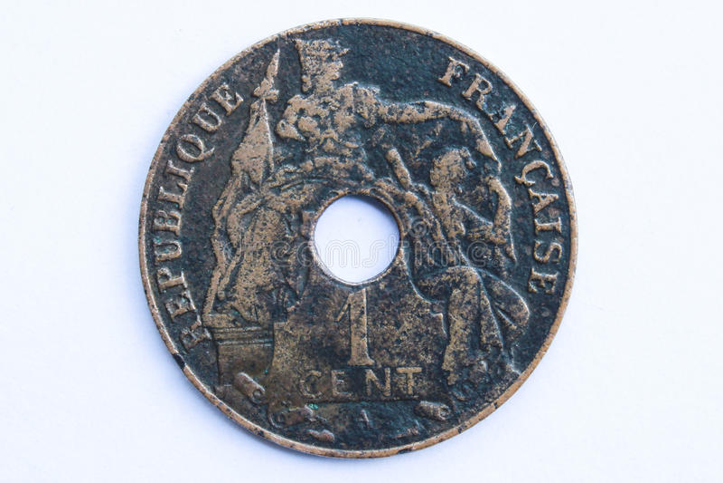 Moneda vieja de indochina imagen de archivo